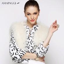 2015 non-sleeve woman white rabbit & sheep fur vest