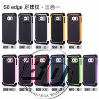 Wholesale Popular PC + Silicone+TPU Combo football skin Cover Case For Samsung Galaxy S6 edge lowest price