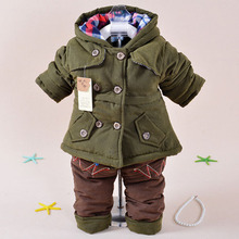 tcy5013 plain color thicken fashion kids boy winter clothes suit