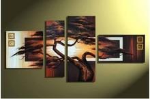 Group oil painting for home decor lush plant canvas print landscape oil painting