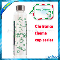 Christmas Borosilicate Glass bottle,silicone band drinking