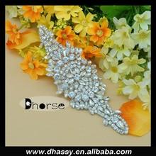 DH-853 Sheer Diamond White Organza Rhinestone & Pearl Accent Beaded Bridal Belt