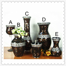 Unique Europe Style brown glass handmade crackle mosaic flower vase with pearls