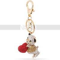 Free Shipping Bear Heart to You Crystal Animal Key Chain for Girls/Women Love