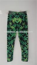 chic 2014 diseño hiphop las mujeres hierba verde de la hoja de arce de marihuana de impresión medias calzas pantalones