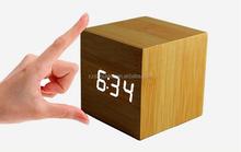 LED Fashion cube Clock Alarm Clock usb and battery Power Antique Wooden Desk Clock