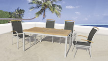 aluminum extension table and chairs sets with teak wood arm