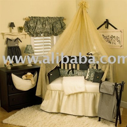 Black Cream Trendy Boutique Girl Baby Bedding Crib Sets