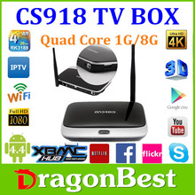Make Your Own Brand High Quality 1920x1080 pix CS918 Android Quad Core Tv Box