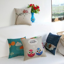 Cute Cartoon Design Linen Fabric Vintage Wholesale Throw Pillows in Stock