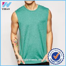 2016 Yihao new arrival custom men plain t shirts sleeveless t-shirt running cotton shirt with pocket for men fancy men t-shirt