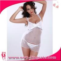 hot sexy babydoll sleepwear lingerie white silk