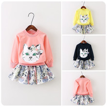 TG049 autumn long sleeve cat pattern pullover and floral skirts wholesale girl sets