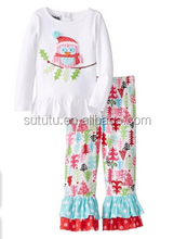 Christmas boutique clothing fall 2015 chinese wholesale fall and winter fancy outfit bird tree appliqued cotton ruffle pant set