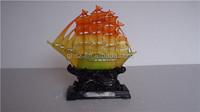 feng shui decor crystal resin jade boat sculpture