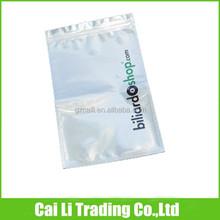 clear front heat seal aluminum mini zipper bag