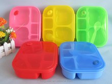 2015 New Product 5 compartment Bento lunch box/5 compartment microwave safe food container/Colorful Bento Lunch box