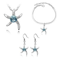 Luxury woman party jewelry silver jewelry set cute starfish pendant necklace earrings bracelet set