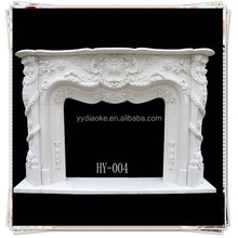 Baoding factory snow pure white marble fireplace mantel