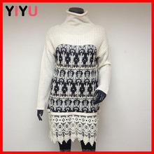 fashion korean design long sleeves collar lace patchwork jacquard long pullover slim dress sweater