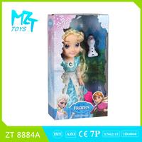 2015 New !Eco-friendly PVC 14 inch princess doll with crystal eyes+small Olaf Barbie Doll