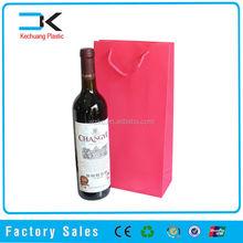 Red color pp plastic wine bag for 2 bottle, thin plastic shopping bag