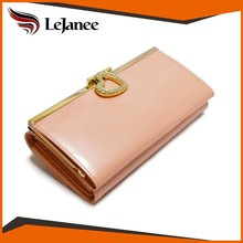 Latest cheap wholesale frame clutch and button closure women's clip wallet