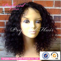 Alibaba Good Feedback Premium Quality 1B# Color 10'' Deep Curly Style 100% Virgin Brazilian Hair Lace Front Wigs Accept Escrow