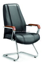 A-202C bow shape stainless steel frame wood armrest simple office staff visitor chair