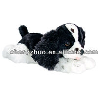 35cm king charles spaniel puppies with black and white color plush toys wholesale