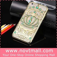 2015 Special Golden Handphone Casing Cover For Iphone 6 Bling Crown With Green Crystal
