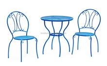 fun color steel dining set cafe chair and table, outdoor garden furniture