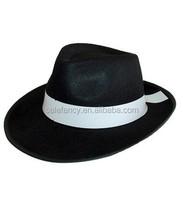 Deluxe Black Felt black Gangster Hats QHAT-2186