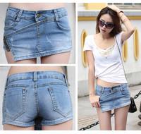 * Spring and summer denim shorts side zipper denim shorts summer denim skirts fake Jeans for women lady girl