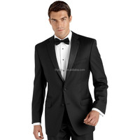 Two Buttons Side Vent Satin Collar Tailored Black Mens Wedding Suits (Jacket+Pants+Bow) WD141 Terno Slim