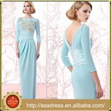 VL160 Elegant Light Blue Mother of The Bride Dresses Long Beaded 3/4 Sleeve Vestidos Madrina Boda