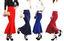 Invierno primavera elegante diseñador botines de punto de las mujeres faldas largas