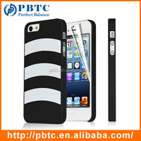 Set Screen Protector And Case , Hard Plastic Black Colorful Stripes Case For Iphone 5S