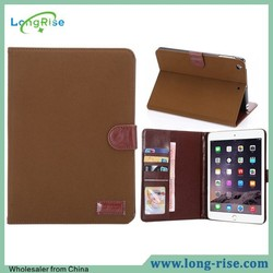 Fashion Cloth Skin Wallet Leather Flip Smart Wake Sleep Case for iPad Mini with Card Holder and Photo Frame
