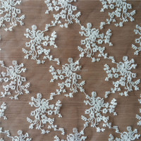 embroidery on mesh fabric 100% polyester fabric lace for wedding dresses