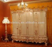 Luxury home 4 door wardrobe,classical bedroom armoire,wooden hand carving(B50829)