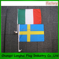 Car window flags with pole