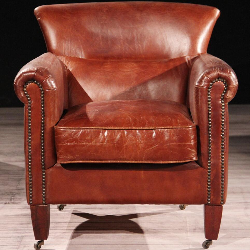 Luxe club hennessy bruin lederen fauteuil met wielen woonkamer stoelen product id 60088553686 - Bibliotheek wielen ...