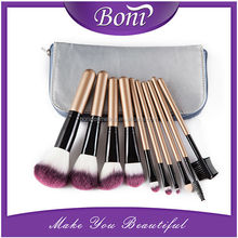 10pcs complete makeup brush kit with silver case