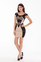 Lace Black & Beige veiled Lady Party Dress Sexy Black Evening Dress for Women Plus Size Fashion Cheap Dress