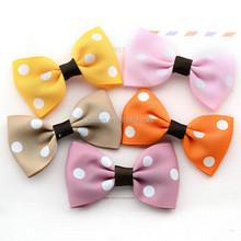 polka dots cheap price satin ribbon boutique bows for kids headwear