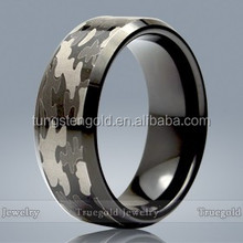Black Plated Camouflage Tungsten Carbide Men Rings