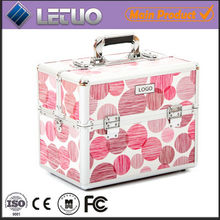 Aluminium Hard Case Combination Lock Cosmetic Pink Spots cheap makeup beauty case