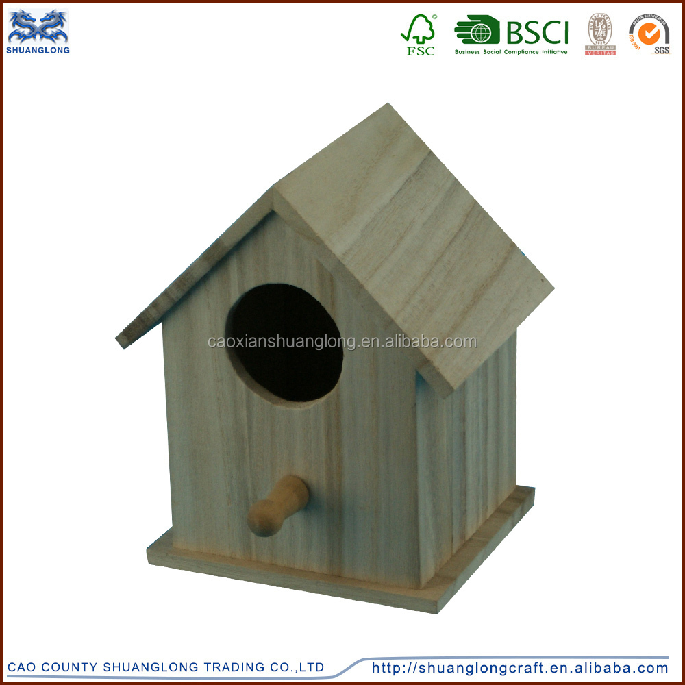 Wholesale cheap new design unfinished wooden bird house for Wholesale wood craft cutouts