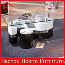 hot sale fashion high gloss s shape glass coffee table with stools